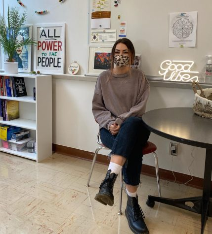 Britni in her office next to the school nurse