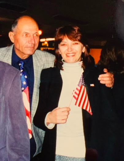 Mihaela Boboc and her father at her naturalization ceremony